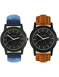 Talgo 2017 New Collection Foxter (combo Of 2) Black Round Shapped Dial Leather Strap Fashion Wrist Watch For Boys... - B0763V8WVV