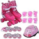 Giow Komplettes Set Kinder-Rollschuhe, Herren- Und Damen-Rollschuhe EIN- Und Zweireihig Verstellbar Blinkendes Rad,Pink,35to38yards