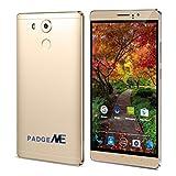 Smartphones Best Deals - PADGENE® Unlocked 3G Smartphone, 6 inch IPS Screen(1280*720) Android 5.1 Mobile Phone---MTK6580 4 Core 1.3GHz,1GB RAM 8GB ROM, Dual Sim(Dual Standby), Dual Camera(2.0M/5.0M),WIFI GPS G-Sensor SIM-Free 2G/3G Smartphone Phablet 4800mAh Battery (Gold)