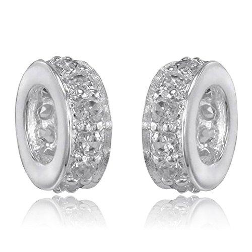 MATERIA 925 Silber Bead Zirkonia Spacer - Silber Beads Zwischenelement mit Zirkonia Steinen weiß 3x8mm #907