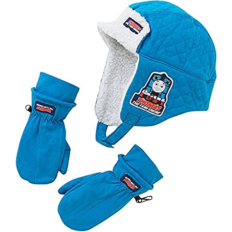 Thomas & Friends Boys Fleece Lined Winter Trapper Hat and Mitts Set - Blue - 2/6 Years