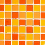 Mosaik Fliese Transluzent gelb orange rot Glasmosaik Crystal gelb orange rot für WAND BAD WC DUSCHE KÜCHE FLIESENSPIEGEL THEKENVERKLEIDUNG BADEWANNENVERKLEIDUNG Mosaikmatte Mosaikplatte