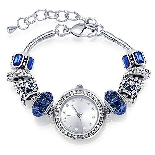 Manbara bracciale orologio da polso braccialetto charms per donna ragazza swarovski cristalli, quadrante in argento placcato, cinturino regolabile, regalo per natale compleanni
