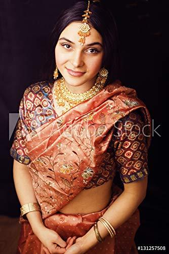 druck-shop24 Wunschmotiv: Beauty Sweet real Indian Girl in Sari Smiling on Black backgroun #131257508 - Bild hinter Acrylglas - 3:2-60 x 40 cm / 40 x 60 cm Black Indian Girl