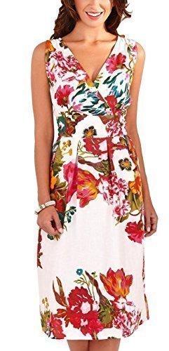 Martildo Fashion, Mujer Vibrante Estampado Floral Vestido Hasta Rodilla - Rosa, Mediana (EUR 40-42/UK 12-14)