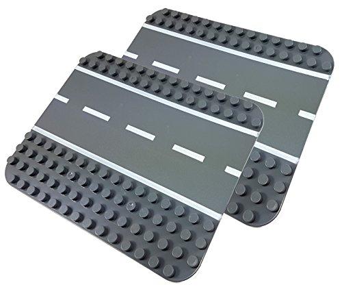 Katara- Juego de 2 Placas de Construcción Base de Carretera para Coches Compatible con Lego Duplo, Hubelino, Papi MAX, Unico Plus, Color Gris (1813)