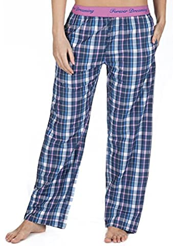 Ladies 100% Cotton Tartan Check Pyjamas Bottoms Pants Elasticated