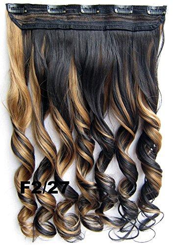Meiya 61cm 130g Mix Farbe Damen New Fashion Lange gewellt Kunsthaar (voller Kopf Clip in auf Haar Extension Haarteil für Cosplay oder Weihnachten