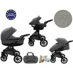 Quero, 3en 1sistema de viaje con material de lino, asiento de coche, cochecito para cochecito de bebé y accesorios (nº 2)