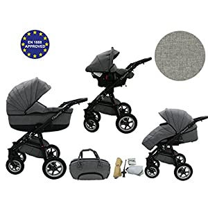 Quero, 3-in-1 Travel System with Baby Pram, Car Seat, Pushchair & Accessories (linen material No. 2)