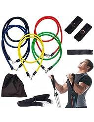 Gearmax® 11pcs Conjunto de Cuerdas Resistencia a la Banda de Ejercicio Físico Cables de Tubos Para la Yoga, ABS, P90X y Otras Unidades