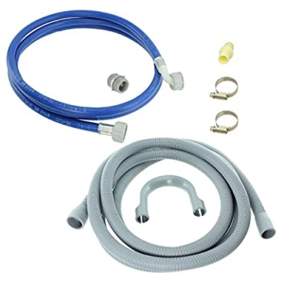 SPARES2GO Water Fill Pipe & Drain Hose Extension Kit for Miele Washing Machine (2.5M)