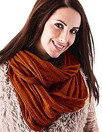 Ladies Burnt Orange Glitter Ribbed Knit Snood Warm Winter Scarf Hood Neck Warmer