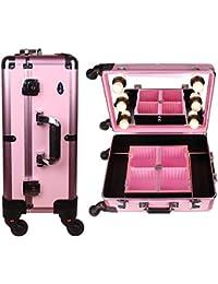 72cbd9159 YYLH Maletín Para Maquillaje Estuche de Cosméticos Organizador Beauty Case  Cerradura Viaje Con Espejo Aluminio Con luz Maleta…