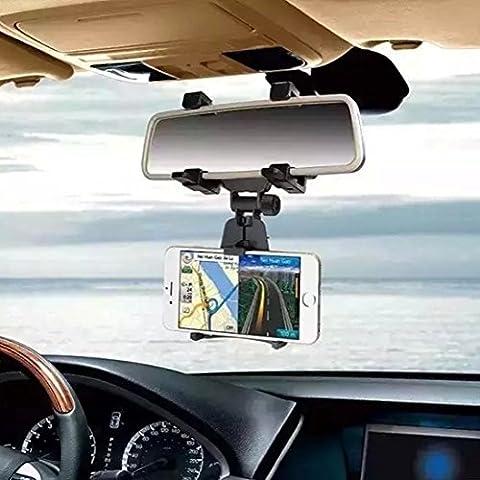 Universal Smartphone Halter Auto KFZ Rückspiegel Halterung Ständer Truck Auto Halterung Cradle für iPhone 7, 7Plus, 6S Plus, 6, 5S, Samsung Galaxy S6/S5/S4/S3, Note 4/3/2, (5 Attach Fall)