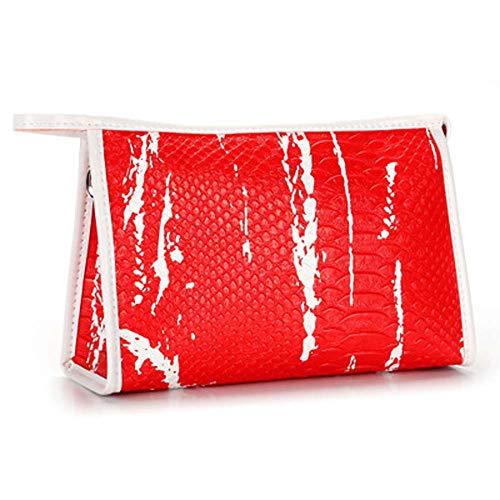 LX-CG Klein Kosmetiktasche PU Handliche Kulturbeutel Damen Schminktasche für Handtasche Makeup Tasche Portable Travel Kosmetikbeutel, red