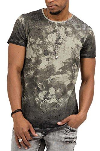 trueprodigy Herren T-Shirt Rundhals Ausschnitt Khaki Kurzarm Slim Fit