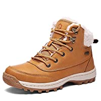 Winter Boots Women Snow Boots Waterproof Leather Warm Adults Faux Fur Ankle Boots Shoes Ladies Footwear with Fully Fur Lined Lining & Rubber Outsole for Outdoor Walking Hiking, Brown Size 5 UK 38