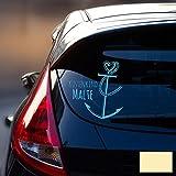 Autotattoo Heckscheibenaufkleber Fahrzeug Sticker Aufkleber Baby Name Anker mit Spruch Küstenkind M1867 - ausgewählte Farbe: *creme* ausgewählte Größe: *L - 25cm breit x 26cm hoch*