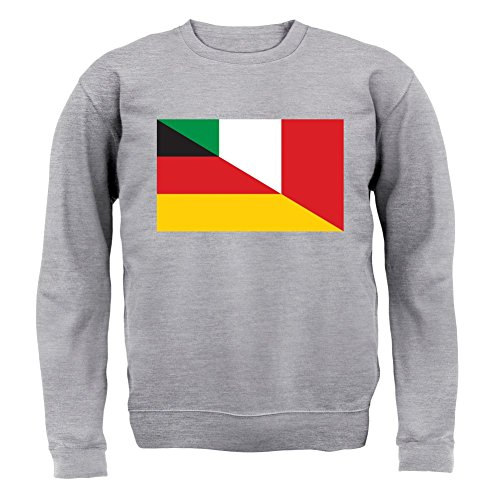 Half German Half Italian Flag - Kinder Pullover/Sweatshirt - Grau meliert - XXL (12-13 Jahre) (Italienisch-flag Sweatshirt)