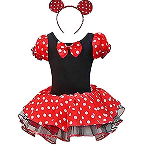 YiZYiF Baby Kinder Mädchen Kleid Halloween Karneval Kostüm festlich Partykleid Cosplay Kostüme Kleidung Festzug Gr. 80-128 (92, Rot Tütü)
