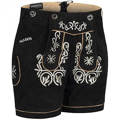 PAULGOS Damen Trachten Lederhose + Träger, Echtes Leder, Kurz in 8 Farben Gr. 34-50 M2, Farbe:Schwarz, Damen Größe:38