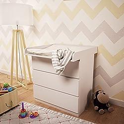1011823743, Polini Kids Wickelaufsatz für Kommode MALM IKEA in weiß, 1353.9