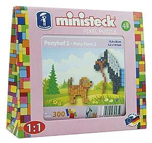 Ministeck 32585-Pony con Perro, steckplatte, Accesorios, Aprox. 300de Piezas, Negro