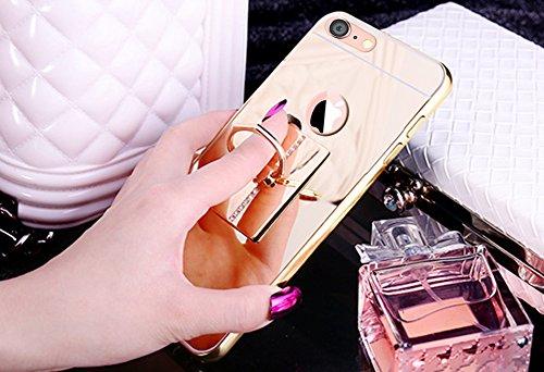 iPhone 8 Hülle,iPhone 7 Hülle,SainCat Luxus Bling Glänzend Glitzer Spiegel Hülle [Weiche Metall Rahmen + Hart PC Rückdeckel] Mirror Effect Spiegel Schutzhülle [Glitzer Diamant Square Ring Fingerhalter Square-Gold