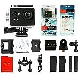 Yuntab ® A9 Caméra de Sport action caméra étanche Full HD 1080p H.264 avec Caméscope HD Vidéo de 5 Mégapixels Action caméra avec grand angle 120 degrés et accessoires avec boitier étanche Noir