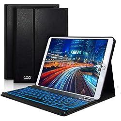 COO Coque Clavier iPad 9.7 Pouces AZERTY Français Bluetooth Clavier Etui Housse Auto Veille&Réveil 7 Couleurs rétro-éclairage pour Nouvel iPad 2018 iPad 2017 iPad Pro 9,7 iPad Air 2/1(Noir)