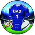 """AK Giftshop Rugby Cake Topper 8"""" (20cm) Icing Round Decoration - Sale Sharks Colours from AK Giftshop Ltd"""