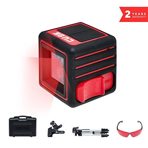 ADA Instrumente Cube Laser Level komplett-Set Selbstnivellierender Kreuz Line Ultimate Edition (Laser Kit Red)