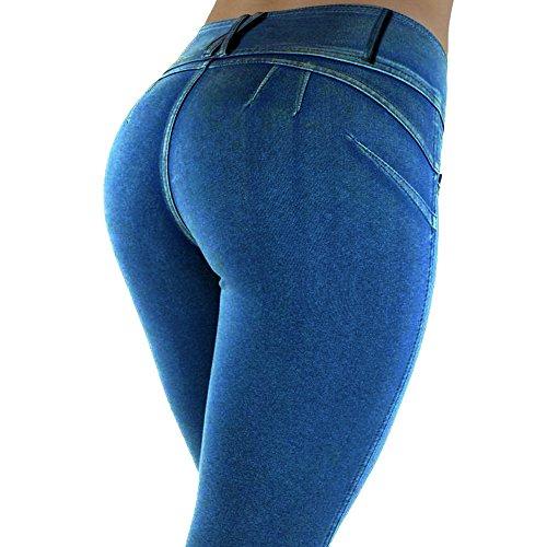 Botetrade Slim Fitness Frauen Hip Push Up Pants Sexy Elastic Woven Cloth Bleistift Pant Stretch Rohrenhose Denim Blue M (Denim Hosen Spandex)