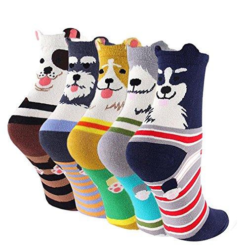 LHZY Womens Girls Socks 5 Pack,Funny Cute Pet Dogs Painting Cartoon Sweet Design,Comfortable Cotton Blend Floor Socks FBA-UK 4-7/EU 35-41