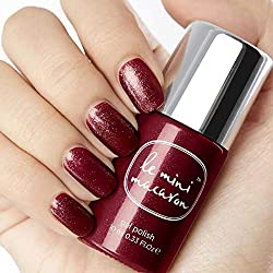 Le Mini Macaron ♥ Vernis à Ongles UV 3 en 1 • Nail Gel Semi-Permanent Séchage LED • Couleur Bordeaux Pailleté • 10ml