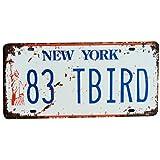 Ouken Vintage Sensation Rustique Maison Salle de Bains et Bar décoration de Mur New York Ville modèle Voiture immatriculation Plaque Souvenir métal étain Signe Plaque 1 pièce