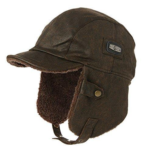 SIGGI kaffeebraune warme Trappermütze mit Kunstleder Bomber Hut Unisex Fliegermütze Fellmütze Erwachsenen für ()