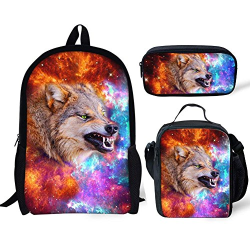 coloranimal Cool Wolf Husky Muster isoliert Lunchpaket für Kinder Schule Erwachsene Arbeit Tote Box Casual Wolf Backpack+lunch Bag+pencil Case-3