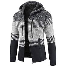 Hombres Abrigo Chaqueta suéter JiaMeng Chaqueta de Punto con Capucha y Cremallera de Rayas Outwear Tops