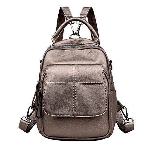 Dame Fashion Pu Leder Rucksack Umhängetasche Satchel Handtasche Reise Daypack Für Frauen Mehrfarbig Bronze
