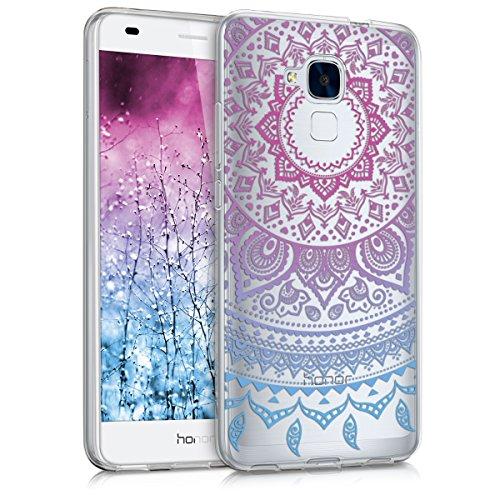kwmobile Crystal Case Hülle für Huawei Honor 5C aus TPU Silikon mit Indische Sonne Design - Schutzhülle Cover für Handy und Smartphone klar in Blau Pink Transparent