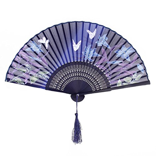 PIXNOR Womens Folding Bambus-Hand-Ventilator mit Quaste für Hochzeit Geschenke ( Schmetterlings-Lilien)