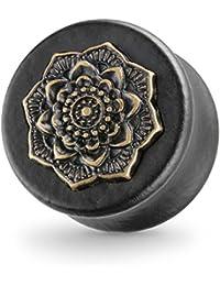 Piercingfaktor® Flesh Ohr Plug Tunnel Holz Mandala Blume Ethno Schwarz