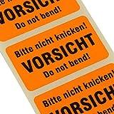 500 Etiketten BITTE NICHT KNICKEN (do not bend) Haftpapier 38 x 23 mm leuchtend orange