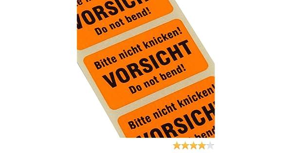 100 Etiketten BITTE NICHT KNICKEN Haftpapier 38 x 23 mm leuchtend orange do not bend