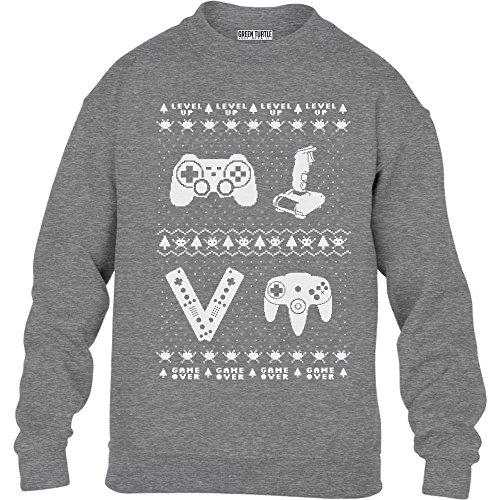 (Green Turtle T-Shirts Kids Retro Weihnachspullover Controllers für Gamer Kinder Pullover Sweatshirt XL 152/164 Grau)