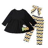 Riou Kinder Langarm Halloween Kostüm Top Set Baby Kleidung Set Kleinkind Kleinkind Infant Baby Mädchen Brief Geist Kleider Hosen Halloween Kostüm Outfits (120, Schwarz)