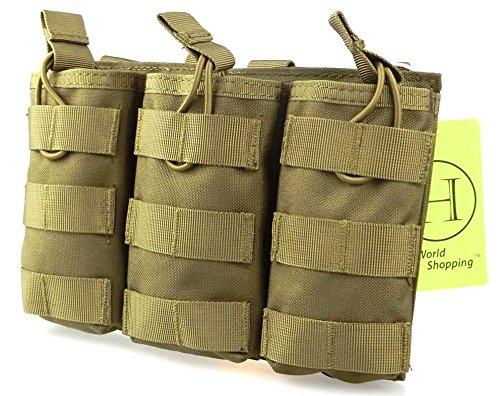 H Welt EU Taktische Molle M4 M16 AR15 Magazin Tasche Open Top Mag Halter Dreifach Airsoft MOLLE Mag Pouch (Tan)