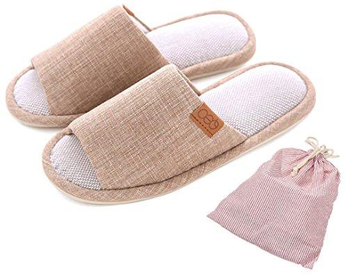 Unisex Slip-On Zapatillas Happy Lily antideslizante puntera abierta sandalia 3d estructura Mules vestido algodón Tejido Interior zapatos para Adultos, beige